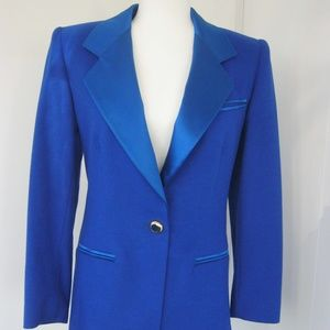 ESCADA Womens One Button Tuxedo Style Blue Blazer